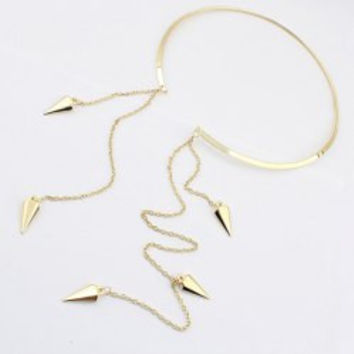 [N/L]-Goldtone Reverse Choker Necklace Ring W/ Spiked Tip Tassels