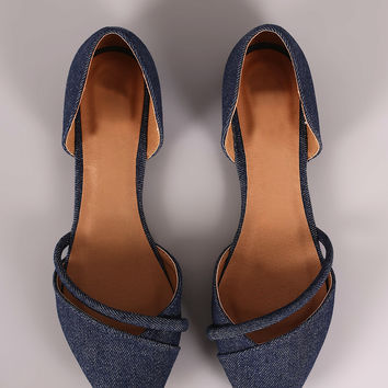 Qupid Denim Pointy Toe Dorsay Flat