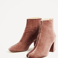 HIGH HEEL VELVET ANKLE BOOTS - Boots and ankle boots-SHOES-WOMAN-SALE | ZARA United Kingdom