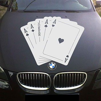 playing cards car hood decal four aces Car Decals quads playing cards Car Truck Side Body Graphics Decal for car kikcar93