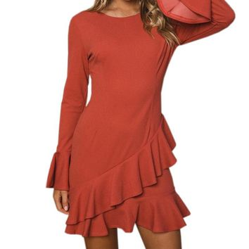 Butterfly Long Sleeve Party Female Mini Dress 2019 Autumn O-Neck Solid A-Line Women Sexy Ruffles Irregular Dresses Mujer M0016