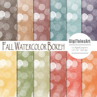 "Fall digital paper ""Fall Watercolor Bokeh"" digital clip art papers in blue, yellow, red, brown, autumn colors, fall background"