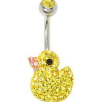 14G Steel Bling Duck Navel Barbell