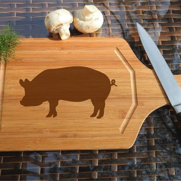 ikb240 Personalized Cutting Board Wood pork pig meat food restaurant