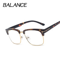 New Style Men and women Vintage Eyeglasses Frame Clear Lens Half-frame Fashion Eye glasses Luxury Retro Reading glasses 4 colors