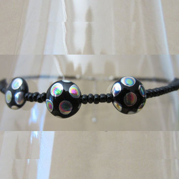 Black Glass Seed Bead Anklet w/Iridescent Polka Dot Black Glass Puffed Disc Accents, Handmade Original Fashion Jewelry Cute Quirky Gift Idea