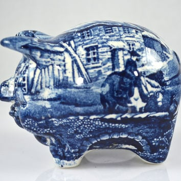 Vintage Figural Blue Transferware  Pig Piggy Bank English Village by James Kent Hard to Find