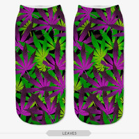 3D Printed purple weed New Cute Low Cut Ankle Socks Multiple Colors Women Sock Women's Casual Socks