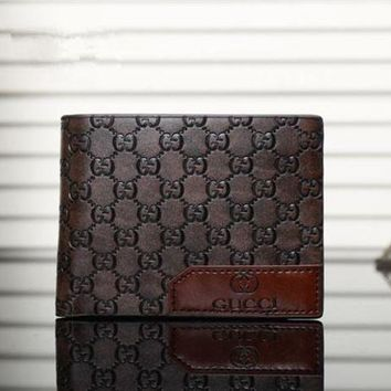 DCCK Gucci' Men Purse Simple Classic Letter  Logo Embossed Short Section Multi-card Bit Fold Wallet