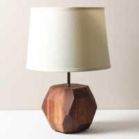 Faceted Wooden Lamp- Solid Walnut, Table Lamp, Modern Lighting, Living Room Lamp