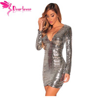 Dear Lover Autumn Party Long Sleeve Gold Sequin Dress Vestido Lentejuelas Femininos Silver Ruched Sequin Nightclub Dress LC22795