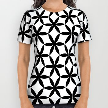 Flower of Life Pattern Black White1 All Over Print Shirt by Cveti