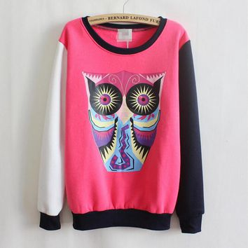 Owl cartoon round neck sweater