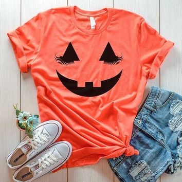 Pumpkin Graphic T-shirt Women Fashion 90s Funny Halloween Cotton Tops Grunge Party Style Casual Tees Holiday Gift Tumblr T Shirt