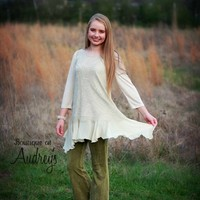 Ivory and Beige Ruffle Hem Tunic with Lace Overlay on Front