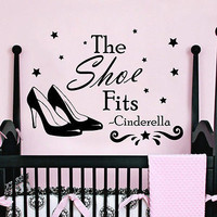 Quote Wall Decals Cinderella Shoes Decal Girl Room Nursery Decor Sticker MR355