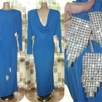 Vintage 70s Dress | 1970s Draped Dress | Rhinestone Epaulets & Belt | Batwing Sleeves | Blue Grecian Disco Goddess | Size 12 Large Medium
