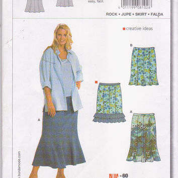 Plus size pattern for 8 gore fit and flare skirt in knee or calf length womens size 18 20 22 23 26 28 30 32 34 Burda 8102 UNCUT