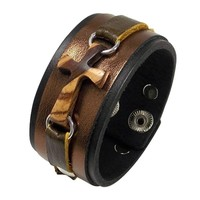 Zebra/Ebony Cross Leather Cuff Bracelet - Bronze on Black