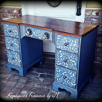Vintage desk, stenciled desk,  distressed desk, rustic desk,  desk, shabby chic desk, blue vanity, distressed vanity, painted desk, desk