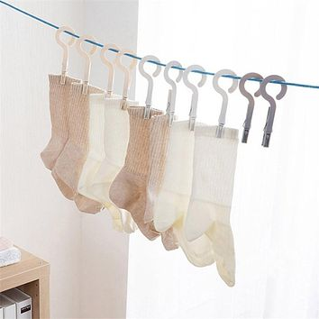 Travel Clothes Pegs with Hooks for Clothesline 4Pcs/Set Plastic Kitchen Hook Rack Hanger Clips Home Underwear Socks Dryer