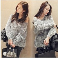 Winter Warm Soft Furry Round Neck Grey Sweater