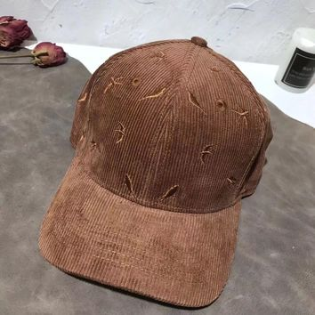 Unisex Corduroy Casual All-match Embroidery Flat Cap Baseball Cap Couple Sun Hat