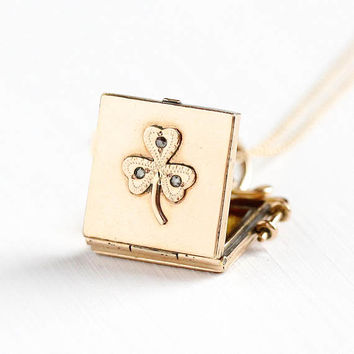 Antique Rosy Yellow Gold Filled Rose Cut Diamond Three Leaf Clover Locket Necklace - Victorian 1890s Shamrock Symbolism Good Luck Jewelry