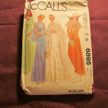 SALE Uncut 1970's McCall's Sewing Pattern, 6895! Size 10 Sml/Medium/Women's/Misses/Bridal gowns/wedding Dress/Bridesmaid Dresses/Formal/Lace