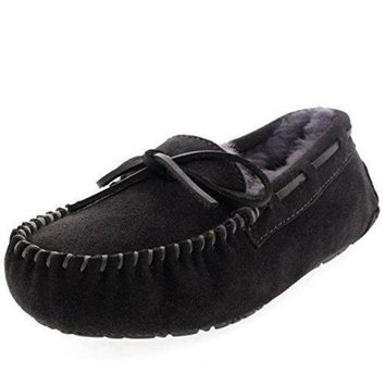 DCCK1IN Womens Moccasins Real Suede Loafers Slippers uggs for women