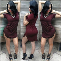 Summer Sexy Women Tops Short Sleeve Side Slit Casual Party Mini Dress Large Size [4905489668]