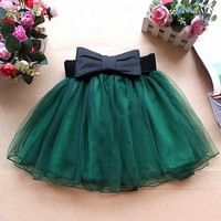 women's wine red/ jade green/ black Princess style Fluffy yarn skirt artistic mini skirt short skirt with bow