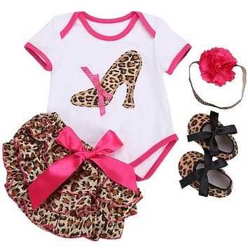 4-Piece Romper Outfit with Headband & Shoes