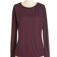 ModCloth Mid-length Long Sleeve Bead By Example Top
