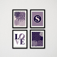 "Set of Four Baby Girl Nursery Wall Art. Floral. Floral Bursts. Purple. Love Typography. Custom Initial. Geometric. Modern. 8.5x11"" prints."