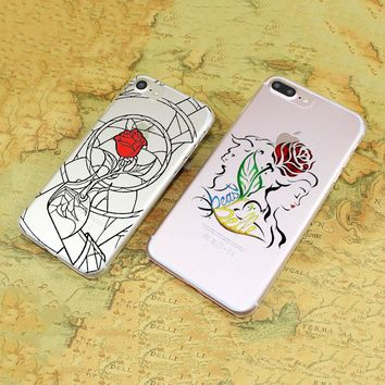 red rose stained glass beauty beast Thin transparent clear phone Cases cover for Apple iPhone 6 6s Plus 7 7Plus SE 5 5s 4s 5c