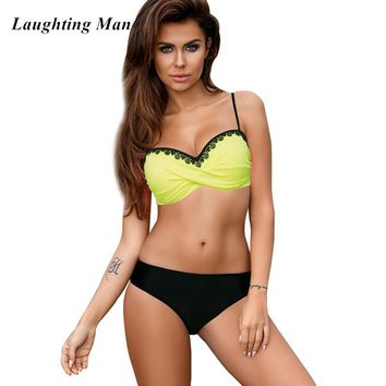 Laughting Man New Sexy Lace Patchwork Bikini Set 2018 Plus Size Low Waist  Women Swimsuit Biquinis Swimwear Female Bathing Suits