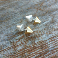 Gold & Silver double sided spike stud earrings/6mm/dainty spike