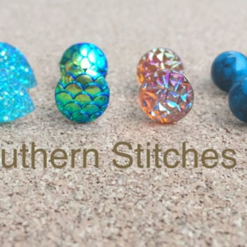 Earrings July Special Druzy Earrings Lucite Earrings Mermaid Scale Earrings Stud Earrings Boho Jewelry