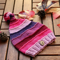 Handknit baby hat, soft and non-itchy merino and cotton yarn in shades of pink and purple, girls hat, baby  girl gift