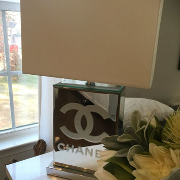 Set of 2 Chanel,Gucci ,Louis Vuitton inspired table lamps ,designer lamps,nightstand lamps ,mirrored lamps