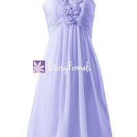 Lavender Chiffon Party Dress Knee Length Bridesmaid Dress Cocktail Dress (BM325)