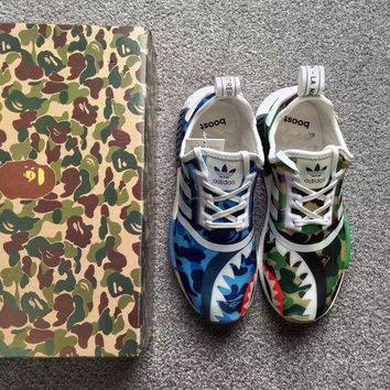 Adidas NMD R1 X BAPE AAPE Trending Women Men Personality Camouflage Sport Shoe Sneakers I