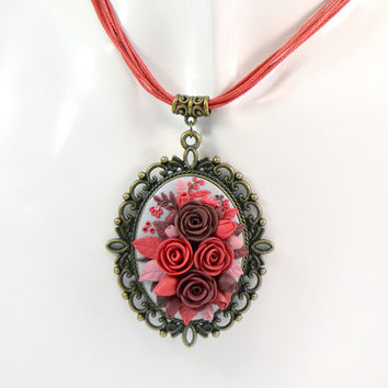 Ready to ship! - Floral Pendant applique with red, burgundy, brown flowers - Polymer clay jewelry - Rose Romantic - Floral Handmade Jewelry
