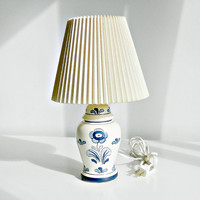 Vintage Small Table Lamp. Blue & White Ginger Jar. Hand Painted Floral. Small Ceramic Lamp.