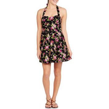 No Boundaries Juniors Halter Bow Tie Foam Bra Cup Dress - Walmart.com