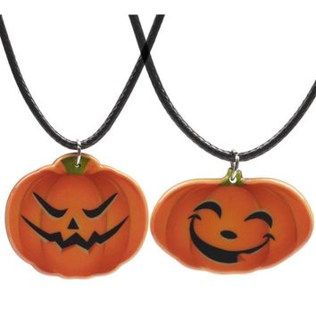 PINKSEE Ghost Festival Smile Angry Face Pumpkin Pendant Necklace For Girls Fashion Necklaces Halloween Jewelry