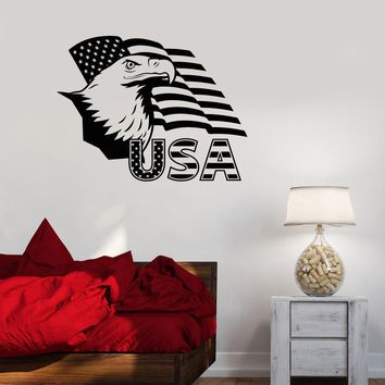 Vinyl Decal American Eagle USA Flag Symbol United States Wall Sticker Unique Gift (ig2735)
