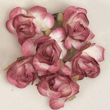 """Mini Paper Rose Bud Flowers with Stem in Mauve1.5"""" Wide x 1.5"""" Tall72 per Pack"""