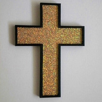 GOLD GLITTER & BLACK Wall Cross - hand painted wood cross with gold glitter surface